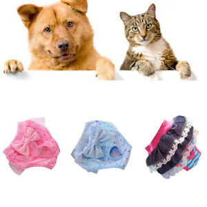 New Female Puppy Pet Cats Dog Bow Sanitary Pants Shorts Brief Knickers Underwear