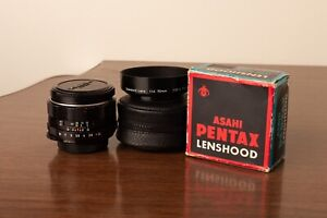 M42 Asahi Pentax 50mm f/1.4 Super Takumar + Lens Hood Original Box Screw Mount