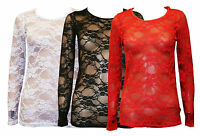 DIVADAMS Ladies Long Sleeves Full Lace Mesh Floral T Shirt WomensTop Size8 10 12