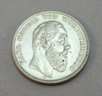"""Silbermünze 5 Mark  DR Münze Silber  Karl von Wuerttemberg 1875 """"F"""""""