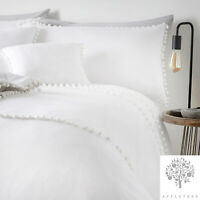 Appletree PAIGNTON Duvet Cover Pom Pom Bedding Set White Brushed Cotton Quilt