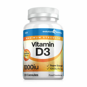 Vitamin D D3 1000IU Super Strength Sunshine 120 Capsules Evolution Slimming