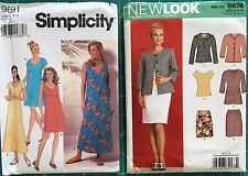 Lot of 2 Misses size 8-18 Sewing Patterns Dresses Top Jacket Skirt
