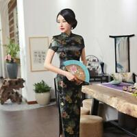 Vintage Chinese Qipao slim fit women's silk evening cheongsam long party dress