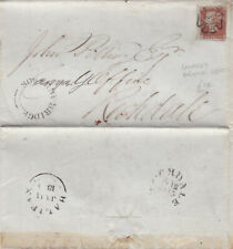 1843 QV BLACK SOWERBY BRIDGE UDC & MX MALTESE CROSS ON COVER WITH A 1d RED STAMP