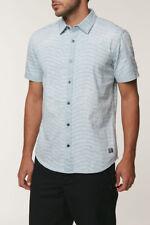 O'Neill SABOTAGE Mens Button Front Short Sleeve Shirt Gray Blue NEW