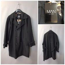 BNWT Boohoo Man Black Men's Trench Coat Medium
