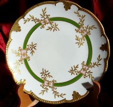 1890s Antique AK Limoges France Hand Painted plate Scalloped Edge Gold Gilt Mint
