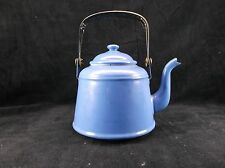 Vintage Enamel Graniteware Tea Pot Teakettle Blue Black Handle Goose Neck Spout