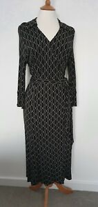 HOBBS - OVAL PATTERN WRAP DRESS - SIZE 8 - EXCELLENT CONDITION