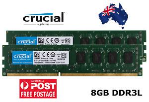 CRUCIAL 8GB 2x4GB DDR3L 1600 Desktop RAM PC3L 12800U Memory 240PIN DIMM