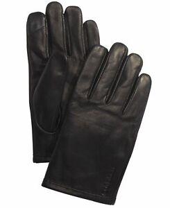 Calvin Klein Mens Winter Gloves Black Size Large L Fleece Lined Leather $70 #527