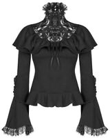 Punk Rave Pyon Womens Gothic Blouse Top Black Floral Lace Steampunk Lolita VTG