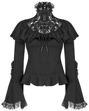 Punk Rave Pyon Womens Gothic Blouse Top Black Floral Lace Steampunk Lolita VTG