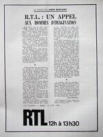 PUBLICITÉ DE PRESSE 1970 RTL UN APPEL AUX HOMMES D'IMAGINATION ANDRÉ BRINCOURT