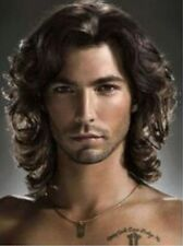 Fashion Men Wigs Short Dark Brown Curly Synthetic Wig Heat Resistant