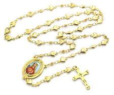 Rosario Antiguo Clásico del Corazón Inmaculado de l Virgen María 18K Oro chapado