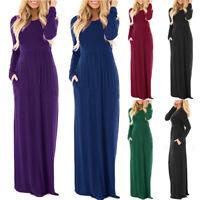 Womens Oversized Summer Loose Long Sleeve Soild Casual Long Maxi Dress Plus Size