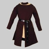 Medieval Celtic Viking Padded Armour Brown Color Gambeson With Full Sleeves