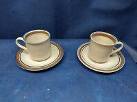 "Vintage Salem China ""Georgetown"" Pattern 2 Sets Cups/Saucers Brown/Blue Rim USA"