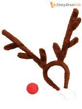 Adult Rudolph Reindeer Kit Mens Ladies Christmas Fancy Dress Costume Xmas Outfit