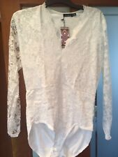 BNWT Boohoo Cream Lace Plus Size  Body Suit Size 18 Sexy White