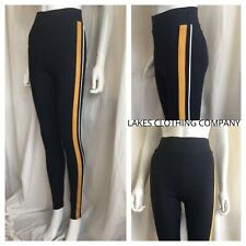 M&S Leggings Jeggings Navy Yellow Side Stripe SKINNY LEG FULL HEAVY THICK 6-20