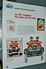 VOITURE MINIATURE 1/24  eme   TINTIN  n°56 LA 201 ROADSTER AU PAYS DE L OR NOIR