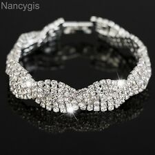 Elegant Silver Crystal Braided 3 Layers Party Gift Wedding Bracelet