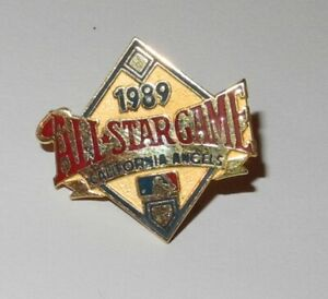 1989 Baseball All Star Game Press Pin California Angels Stadium Button Coin