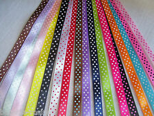 LOT ** 15 mètres ** de RUBAN SATIN à POIS ** 10 mm ** 15 Couleurs assorties x 1m
