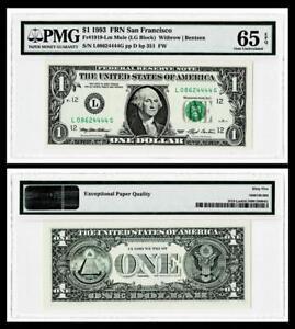 1993 $1  FR.1919-LM MULE Federal Reserve Note /SAN FRANCISCO,CA~PMG  GEM 65EPQ