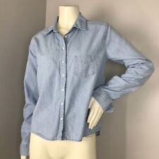 C&C California Womens Light Wash Denim Button Down Long Sleeve Shirt Size S