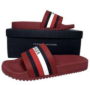 Tommy Hilfiger Men's Riker Pool Slide Sandals Red / Blue Slip On size 9 10 & 11