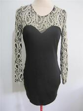Womens Evening Cocktail Mini DRESS Sz 10 Black Lace Stretch Bodycon IMPRINT