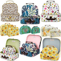Sass & Belle Set Of 2 Small Sloth Sunflower Floral Safari Storage Suitcases