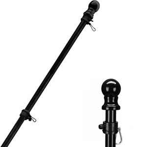 5FT Flag Pole Stainless Steel Heavy Duty Black Flagpole with 2 Rotating Rings