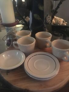 Syracuse China Econo-rim Adobe Lot Of 7 -Cups, Saucers, Bowl