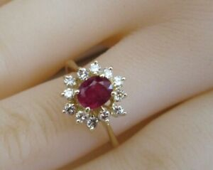 14ct Yellow Gold Natural .90ct Oval Ruby & Brilliant Cut Diamond Solitaire Ring