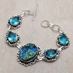 Titanium Druzy Blue Topaz Ethnic Handmade Bracelet Jewelry 24 Gms AB 90803