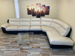 Extra Large Beige Leather Corner Sofa