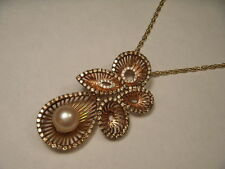 Magnificent 18K Rose Gold Champagne Diamond Pearl Pendant Necklace