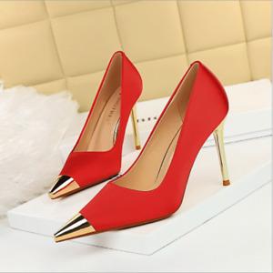 Women Metal Pointed Toe Satin Fashion Sexy High Stilettos Heels Nightclub Shoes