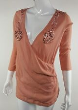 Newport News Women Sz Large Coral Bejeweled Floral Wrap Front Cotton Blouse EUC