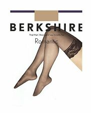 Berkshire Shimmers Sheer Invisible Toe Thigh-High Black Stockings Size Queen 1