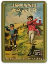 JOHNNIE WALKER WHISKY Small Metal Tin Pub Sign