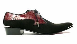 Jeffery-West VEGAN MUSE Adamant 'Wyatt' Lace up shoe - black suede with red croc