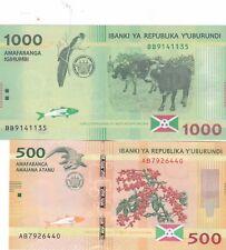 BURUNDI SET,,500.1000 FRANCS UNC BANKNOTES..(R)