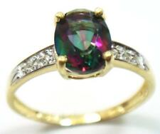SYJEWELRYEMPIRE 10KT YELLOW GOLD NATURAL MYSTIC TOPAZ & DIAMOND RING SIZE7R1275