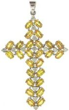 Large (14K) White Gold Yellow Citrine and Diamond Cross - Free Shipping !